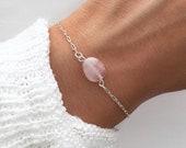 Rose Quartz Bracelet, Silver beaded bracelet, Bracelets for women, January birthstone Bracelet, Rose Quartz Jewelry by Serenity Project