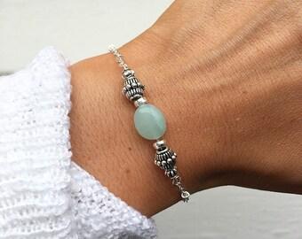 Green Amazonite Bracelet, Silver beaded bracelet, Amazonite Jewelry, Aries birthstone, crystal bracelet, Chain Bracelet by Serenity Project