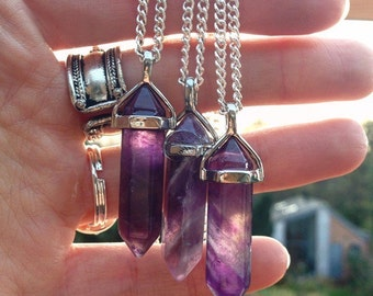 Amethyst Point Crystal Necklace Pendant Quartz Natural Gemstone Gift Faux Suede