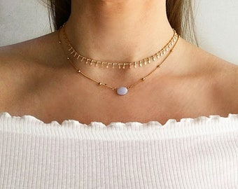 Blue lace agate beaded necklace, Rose Gold chokers, crystal choker necklace, blue gemstone necklace, rose gold necklace;'Seraphine' Serenity