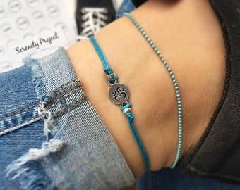 Om Anklet, Silver Coin anklet, Silver beaded anklet, Silver charm anklet bracelet, cord ankle bracelet, yoga gifts by Serenity Project