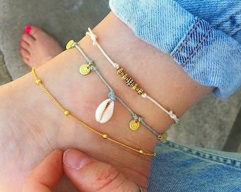 Gold anklet, Gold ankle bracelet, Boho Anklet, Beaded anklet, beach anklets, shell anklet, cord anklet, gold anklet set by Serenity Project.