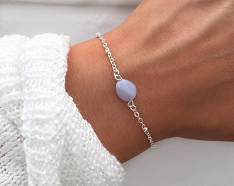 Blue lace agate bracelet, Silver beaded bracelet, Blue lace agate jewelry, March birthstone, crystal bracelet, by Serenity Project