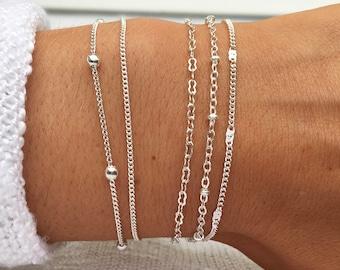 Silver Beaded Bracelet, Silver bracelets, Stacking Bracelets, Bracelets for Women, Silver Chain Bracelet,Dainty Bracelet by Serenity Project
