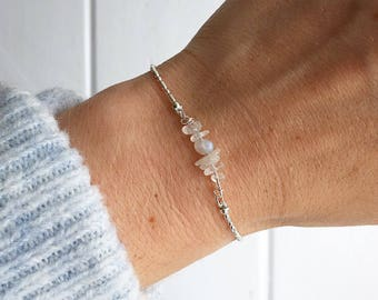 Rainbow moonstone bracelet, Crystal Bar Bracelet, Silver beaded bracelet, silver bracelet, dainty bracelet, Luna Cluster by Serenity project