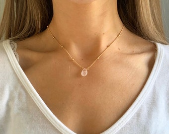 Beaded Champagne rose gold necklace, rose quartz necklace, rose quartz pendant, layered gold necklace, beaded necklace by Serenity Project