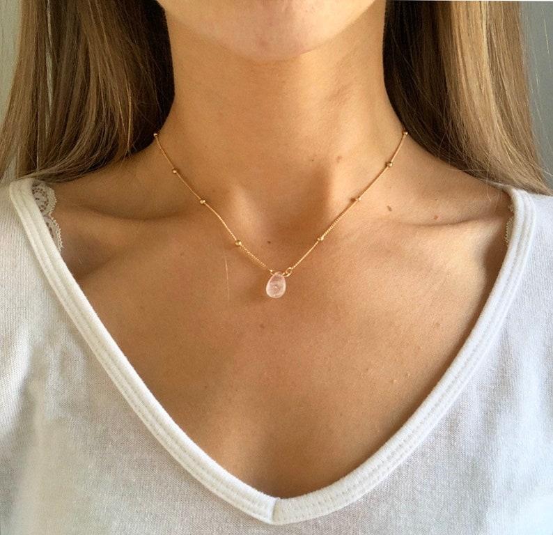 Beaded Champagne rose gold necklace rose quartz necklace image 1