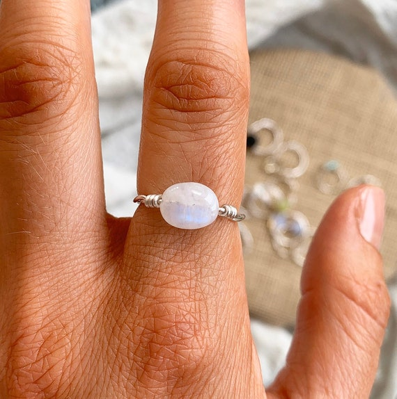 Size Q US Size 8.5 Moonstone Gemstone Sterling Silver Stacking Ring