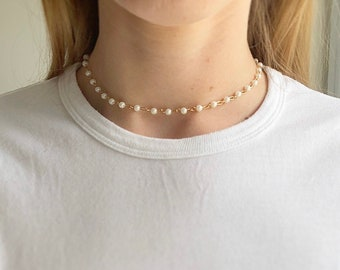 Beaded pearl gold choker, gold choker necklace, layered gold chokers, gold necklace layered, beaded necklace, drop choker Serenity Project