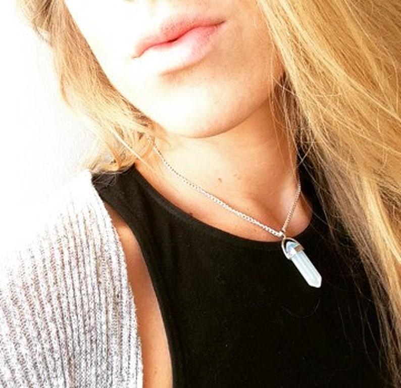 crystal choker Amethyst Opalite Black Snowflake by Serenity project crystal quartz necklace on silver plated chain Crystal necklace
