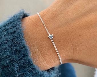 Silver star bracelet, Dainty charm bracelet, Star bracelets for women, gift for her, traveller present, stars jewellery Serenity Project