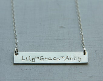 Sterling Silver Long Bar Necklace, Name Bar Necklace, Horizontal Bar Name Plate Nameplate, Personalized Jewelry Hand Stamped, Kids Name