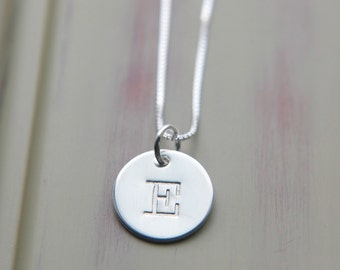 Initial Necklace, Sterling Silver Necklace, Initial Disc Necklace, Custom Necklace, Typewriter Font Letter Charm, Personalized Necklace