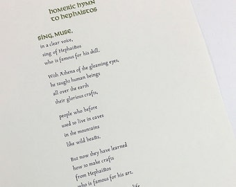 Tactile, Letterpress printed broadside: Homeric Hymm to Hephaistos