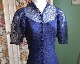 30's Lace Gown with Sweeping Skirt / Old Hollywood Glamour / Sapphire Blue Lace with Matching Slip / 45 Decorative Covered Buttons / S-M
