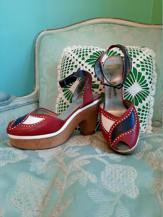 Rare 40's Cork Platform Sandals / Pin Up Shoes / P