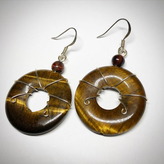 Strength Confidence Dangle Courage Tigers Eye Tigereye Crystal Earrings Brown Sterling Silver Hooks Wire Wrapped