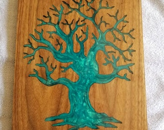 Tree of Life walnut and blue pearl