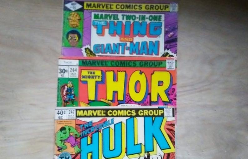3 1970s Marvel Comic Books Hulk Thor And Thing