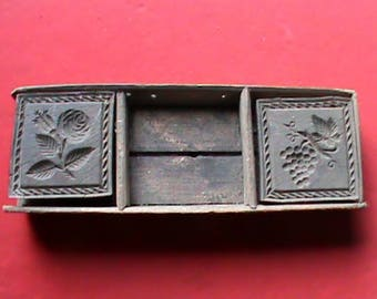 Antique 1800s Carved butter mold box lid with Grapes and Roses, Treen ware