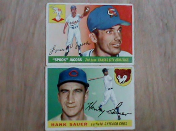 2 Original Old 1955 Topps Baseball Cards Hank Sauer And Spook Jacobs