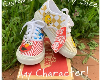 935e365c16f8 Custom Sesame Street Kids Vans Shoes