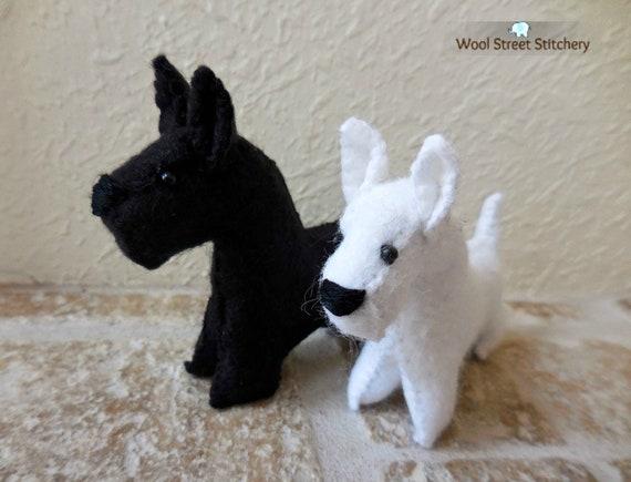 Scottish Terrier Black Or White Scottie Dog Little Stuffed Etsy