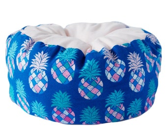 Flannel Cat Bed- multi color pineapple bed, summer cat bed, cute cat bed, machine washable pet bed, small animal pet bed