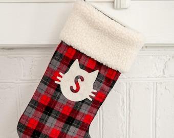 Christmas stocking, black/red/grey buffalo plaid, cat stocking, personalized stocking, buffalo plaid stocking
