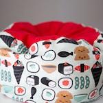 Cat bed - custom, round, fleece, soft, machine washable- sushi, happy, flannel