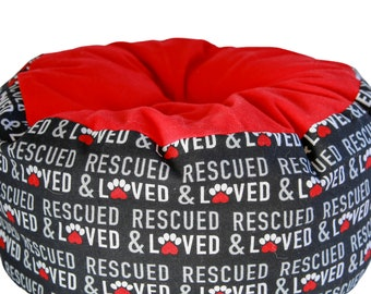 Flannel Cat Bed- machine washable pet bed, rescued animal bed, adopt pets bed, loved pet bed