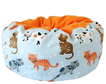 Flannel Cat Bed- kitty collage blue, cute cat bed, machine washable pet bed, small animal pet bed