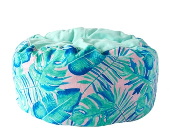 Flannel Cat Bed- monstera plant cat bed, summer cat bed, machine washable pet bed, small animal pet bed