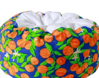 Flannel Cat bed - citrus cat bed,  oranges , flannel bed, machine washable cat bed, summer cat bed