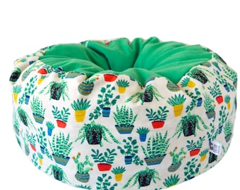 Flannel Cat Bed- potted plant bed, cute cat bed, machine washable pet bed, small animal pet bed