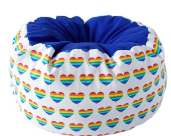 Flannel Cat Bed- pride cat bed, rainbow pet bed, heart pet bed, machine washable pet bed, small animal pet bed