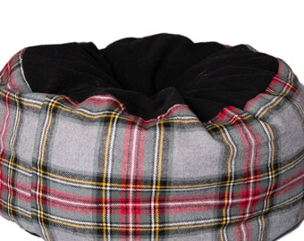 Flannel Cat Bed- machine washable pet bed, red, grey and black plaid flannel cat bed, vintage holiday design
