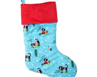 Cat Christmas Stocking, meowy christmas cat stocking, cat lover christmas stocking, gift for cat lover