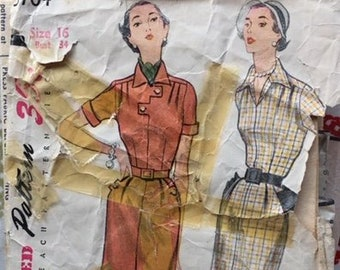 """Vintage 1951 Simplicity Misses' and Women's One -Piece Dress Sewing Pattern no. 3704 - old sizing 16 / 34"""""""