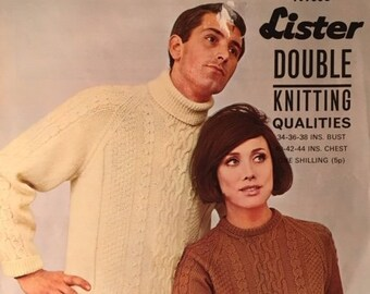 """36a25e1b3 Vintage 1960s Lister His and Her s Aran Sweaters Knitting Pattern No. N1698  - Sizes 34""""-36""""-38""""-40""""-42""""-44"""""""