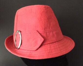 6641d20cfb0 Vintage 1960s Style Dusky Pink Cotton Trilby Hat - 57 cm
