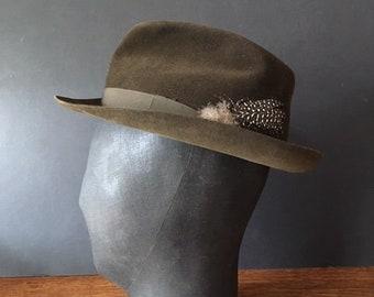 6d18d2d54c145 Vintage di Moore London Brown Trilby-taglia media 7-56 cm