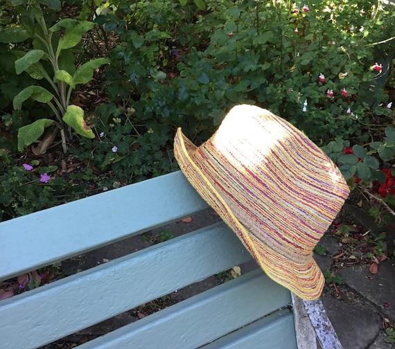 Vintage Striped Trilby Hat - Medium