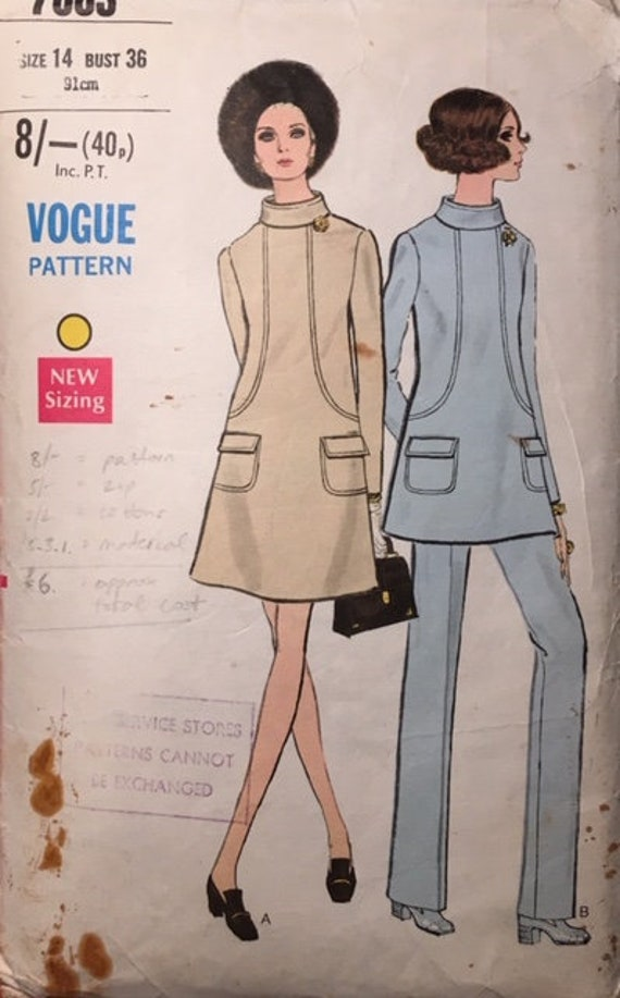 1960s Sixties Vintage Knitting Pattern Jaeger High Neck Tunic Dress and Coat