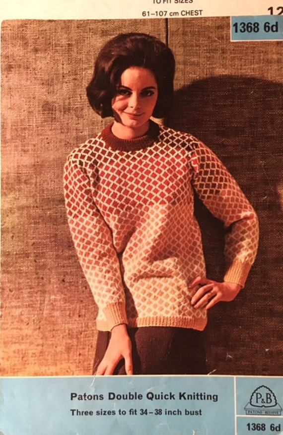 To Fit 34-38 Inch Bust Vintage Patons Knitting Pattern For Lady/'s Sweater