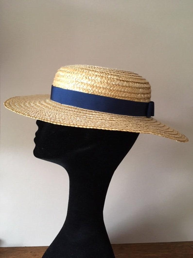 e4585a7325fe0b Vintage Straw Boater with Navy Blue Ribbon Size Medium 56cm   Etsy