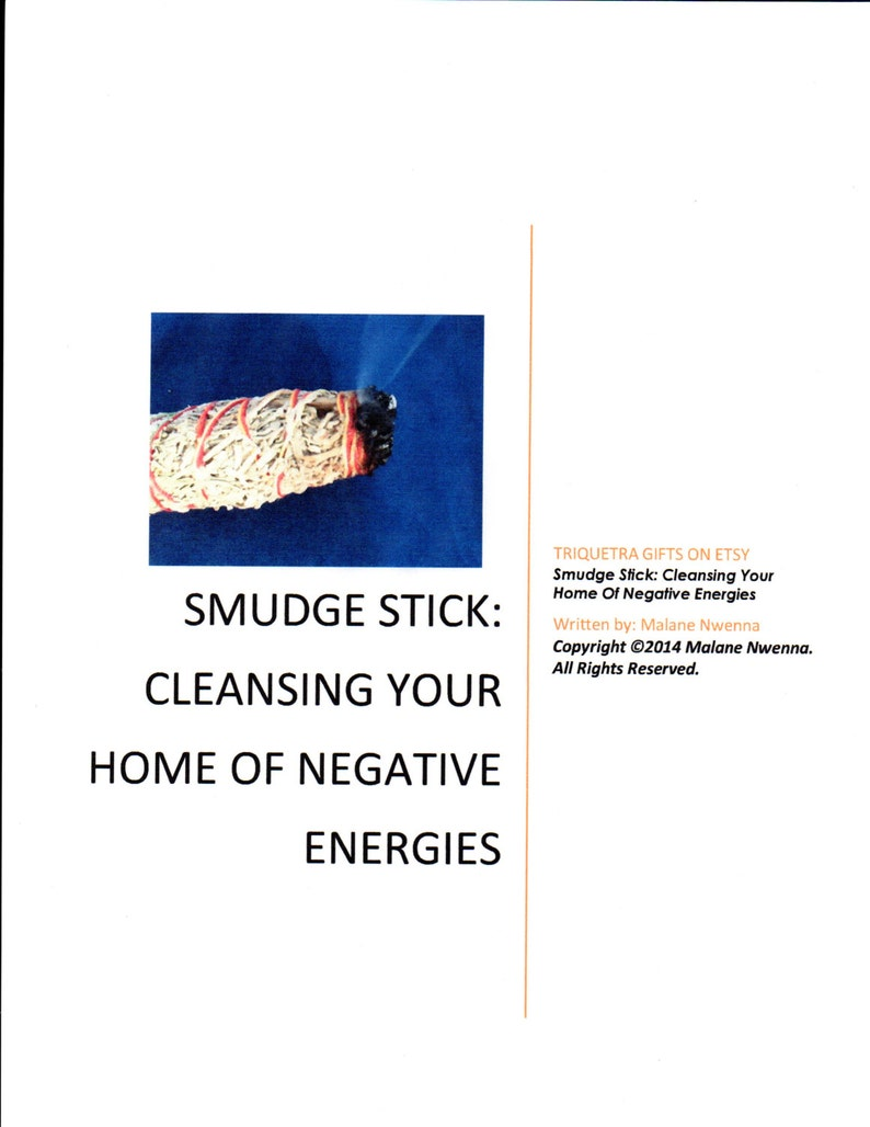 SMUDGE STICK: Cleansing Your Home Of Negative Energies PDF File Pagan Wicca  Occult Magick Spell Casting eBook