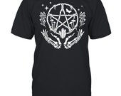 womens wiccan pentacle wreath with skeleton hands and crystals shirt