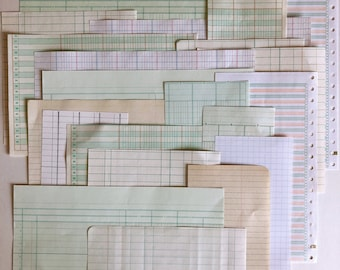 25 piece vintage ledger paper scrap pack