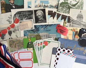 Americana inspiration kit, American themed ephemera pack, vintage Americana, America ephemera